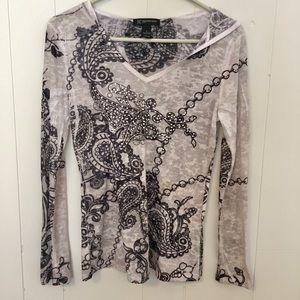 INC Petite Long Sleeve T-shirt Paisley Gray Size S